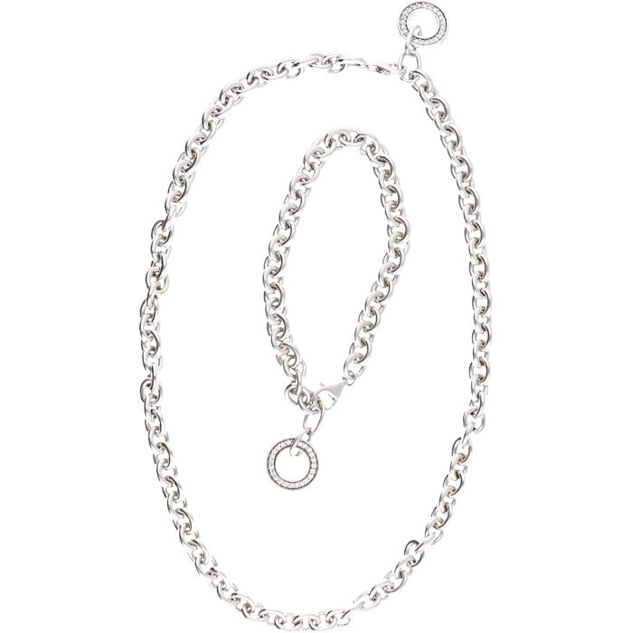 925/1000 Silver set of the ESPRIT brand, consisting of an anchor link chain and bracelet with a pendant that is set with zirconia.