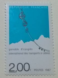 France 1987 - Rare 6ème Congrés International à Grenoble with green Variety omitted with digital Calves and Jacquart certificate - Yvert no. 2,480b