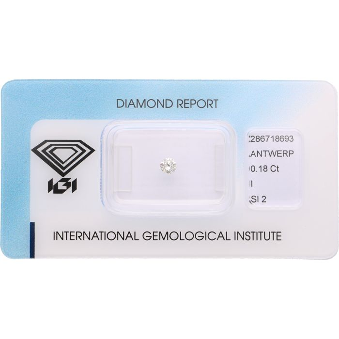 0.18 ct brilliant cut diamond, I SI2