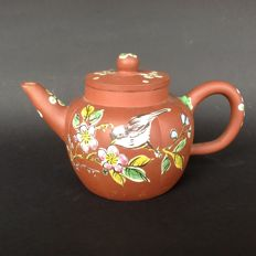 Yixing teapot with enamel decoration of bird- China - circa 1950/1960s