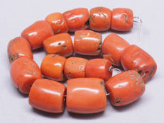 Antique mediterranean red coral beads strand. Berber, Morocco