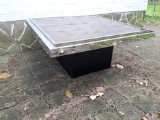 Belgochrom - chrome coffee table with smoked glass top on black base