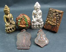 A collection of six Buddha amulets two of which are Lek Lai - Thailand - second half of the 20th century.
