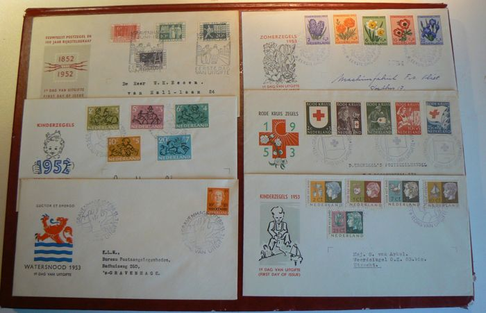 The Netherlands 1952/1953 - Selection of 6 FDCs - NVPH E10/E15