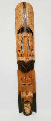 African elongated mask - woodwork panel