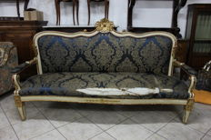 Louis XVI style sofa in lacquer and gold - Naples, Italy - second half of the 19th century