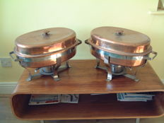 Two copper plated food warmers.