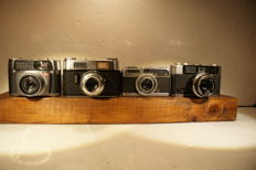 4 compact / rangefinder cameras, a very fine Olympus Auto Eye, a Canon: Demi, a Voigtländer Vitoret D and a Braun Carl: Paxette Electromatic, various dates of production