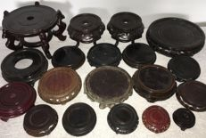 Collection of wooden pedestals (for vases, pots & statues) - China - mid/late 20th century