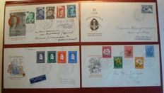 The Netherlands 1952 - Selection of 4 FDCs - NVPH E6 to E9