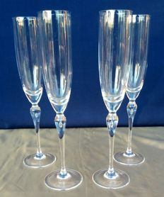 Lot of 4 cut crystal flutes with stamp, France - c. 1951