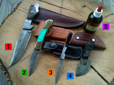 1 Damascus steel hunting knife / outdoor/camping + 2 Damascus steel folding knife / Pocket knife + 1 x Damascus steel knife/Skinner + 100 ml of Camellia oil