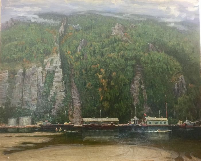 Russian school (Russian 20th century) - A river port under high cliffs