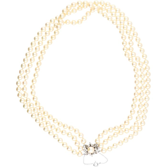 835/1000 pearls necklace with a silver clasp set with a pearl and zirconia. - length x width: 41.5 x 1.7 cm