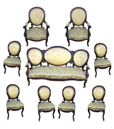 Louis Philippe French living room furniture, set of 9 pieces in solid rosewood, from the 19th century