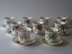 Royal Albert, Flowers Of The Month Series, 9 porcelain cups and saucers, Bone, China