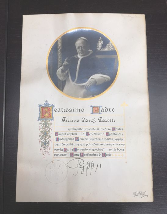 Autographed photo of Pope Pius XI - plenary indulgence (1930s)