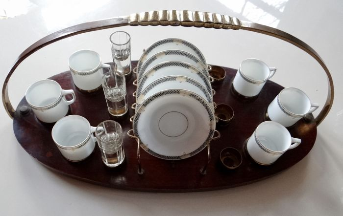 Thomas, Art Deco coffee and liqueur service on a special tray - 50 cm -