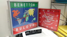 Bulova Benetton 1980s wall clock and Coca Cola wall clock - 2000s