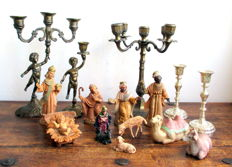 Lot of 5 candlesticks and Italian Christmas setting of birth of Jesus