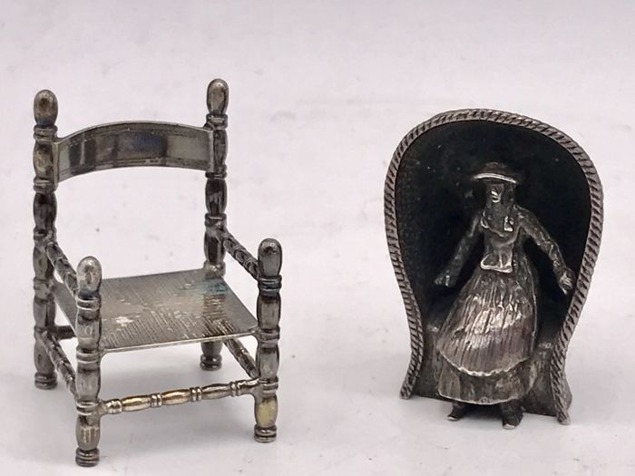 2 antique silver miniatures-woman in beach chair and Dutch button Chair -Netherlands - 2 Antique Silver Miniatures-woman In Beach Chair And Dutch Button