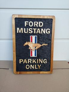 MUSTANG PARKING ONLY  - Unique Large logo carved in wood - 50 cm
