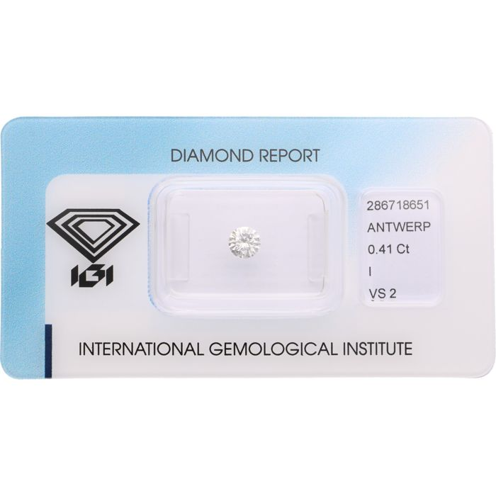 0.41 ct brilliant cut diamond, I VS2