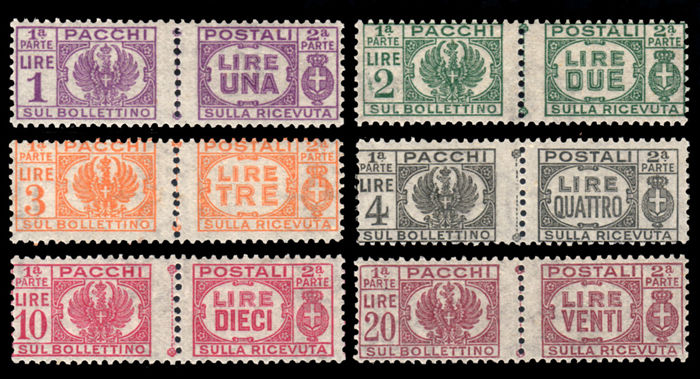 Italy, 1946 – Lieutenancy, parcel post, without fasces, complete series – Sass. No.  60/65.