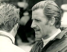 2 x B & W period Photographs Monaco Grand prix  Graham Hill and Rindt and Andretti Merzario Monza