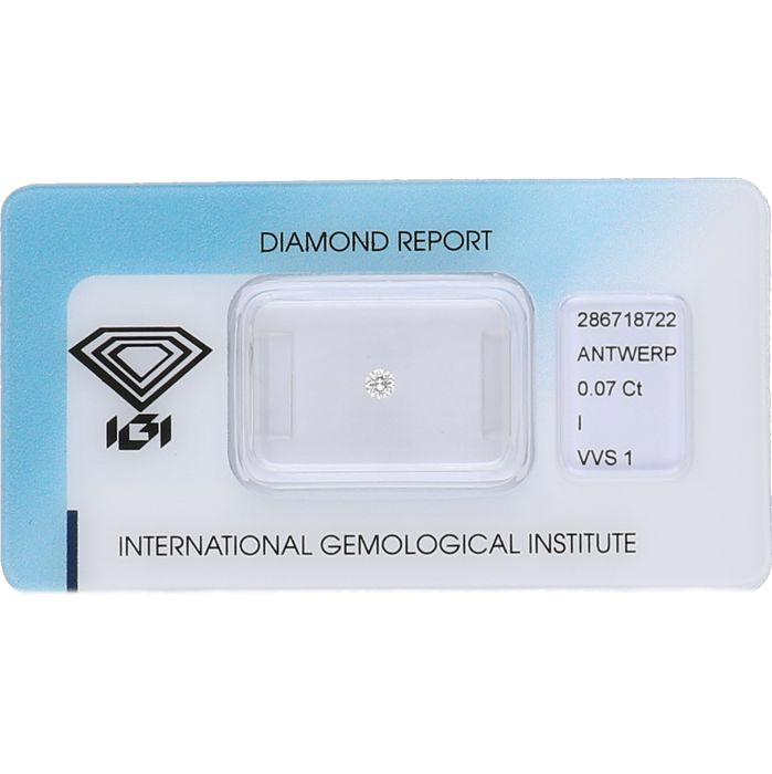0.07 ct brilliant cut diamond, I VVS1