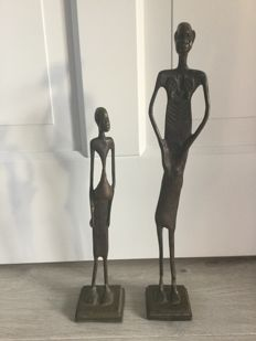 Two bronze sculptures - African men - father and son