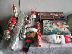 Lot old Christmas decorations and lighting