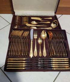 "SBS Solingen cutlery set, 70 pieces - ""2500 Wien"" Model - 18/10 stainless steel - 23/24 karat hard gold plated"