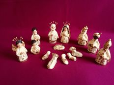 14-piece plaster Oriental Nativity scene