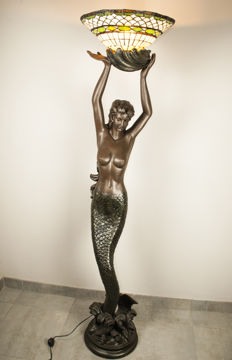 Large mermaid statue with Tiffany lamp replica