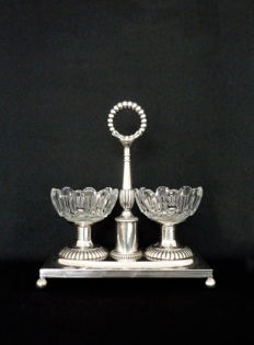 Salt cellars, Empire, Sterling silver and crystal, Paris ca. 1840