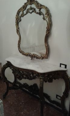 Inlaid wood console table with marble top and wall mirror, early 20th century