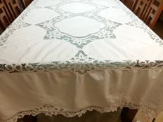 Florence Large pure cotton tablecloth with embroidery and needlework inlays Handmade. 240 X 150 cm