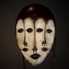 Rare and Perfect African Tribal Four Faced LEGA Bwami Society Mask.Democratic Republic of the Congo.