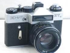 ZENIT ET, 35mm SLR camera, with Helios-44-m 58mm/2 lens, EXC++.Ca. 1980
