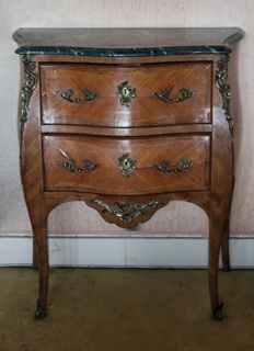 France - Chest of drawers or sideboard style Louis XV with marble and bronze - beginning of the 20th century