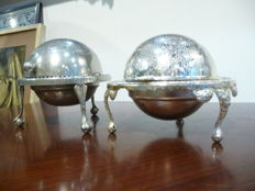 Two beautiful silver plated caviar bowls