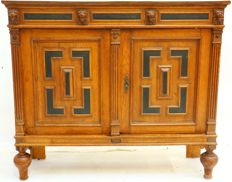 Oak cabinet with cut Lions heads from Mechelen – The Netherlands - ca. 1890