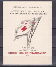 France 1955 – Red Cross notebook 15f + 5f blue and red – Yvert no. 2004