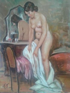 Unknown artist (20th century) Interno casa con nudo di donna