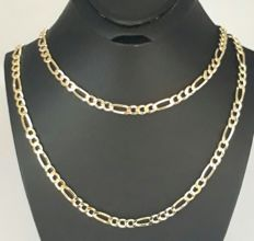 14/585 Ct Yellow Gold Men's Chain,ength60 cm, width 4mm, Total 7.55, *** No reserve price***