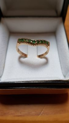 Vintage ring in 9 kt yellow gold, with stones