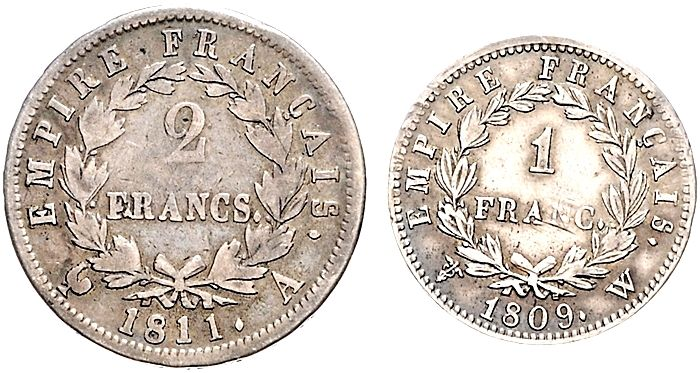 France - 1 franc 1809-W and 2 francs 1811-A (2 coins) - Napoleon I - silver