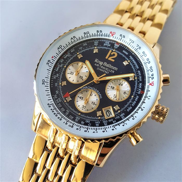 Krug-Baümen - German Diamond Air Traveller Gold Chronograph - Heren - 2018 - New