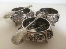 Three silver salt cellars with two spoons, Germany - Maker unknown - early 1900